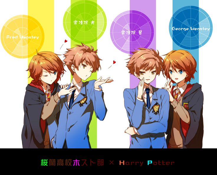 Harry Potter and Ouran High - crossover - Fred, Hikaru, Kaoru, and George