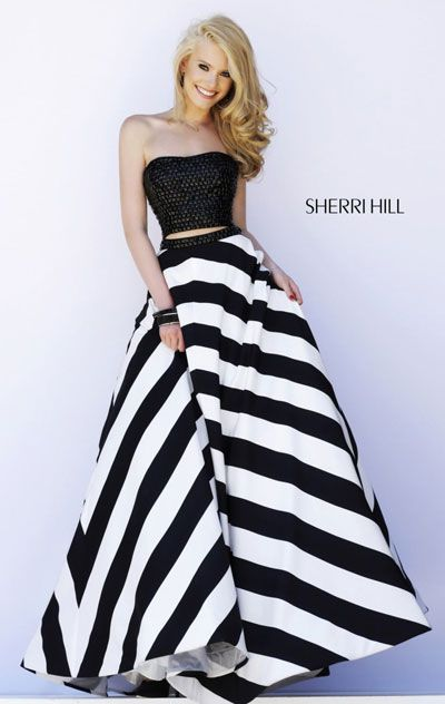2015 Striped Sherri Hill 32221 Black/White Long Bodice A-Line Prom Dress