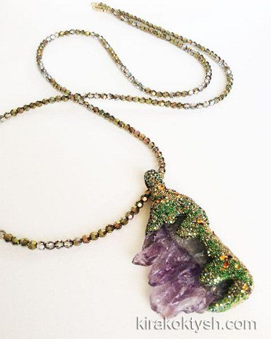Kira Koktysh Jewelry Necklace (Materials: Amethyst slice, Swarovski beads, Swarovski crystals, Gold-filld Lobster Claw Clasp )