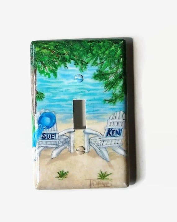 Personalized Beach Chairs Lake House Light Switch Plates And