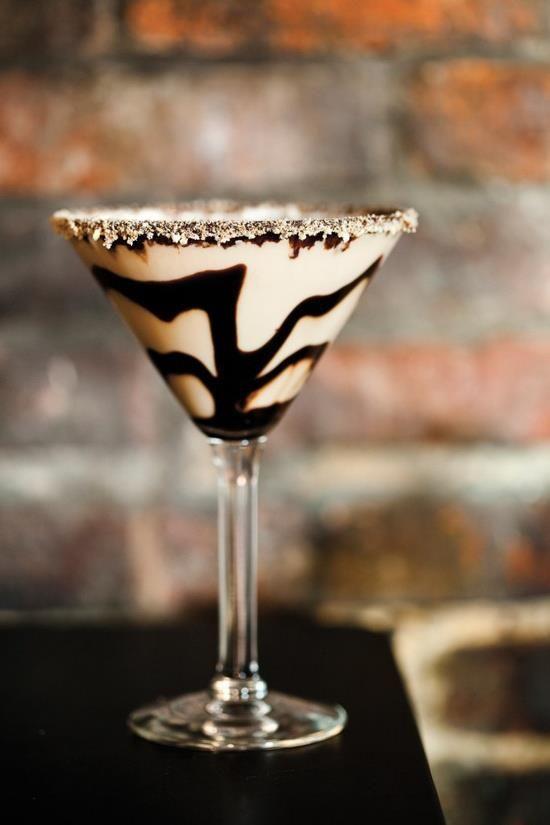 Tiramisu Martini-----1 oz Frangelico 1 oz Skyy Vodka 1 oz Carolans Irish Cream 1/2 oz cold espresso Mix equal parts Frangelico, SKYY Vodka and Carolans Irish Cream in a shaker with ice and strain into a chilled martini glass. Top with espresso and garnish with chocolate. ~ℬℯℓℓℯ~