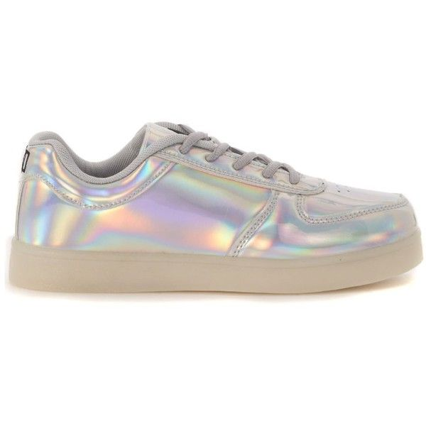 Sneaker Wize & Ope In Vernice Argento Iridescente ($160) ❤ liked on Polyvore featuring shoes, sneakers and argento