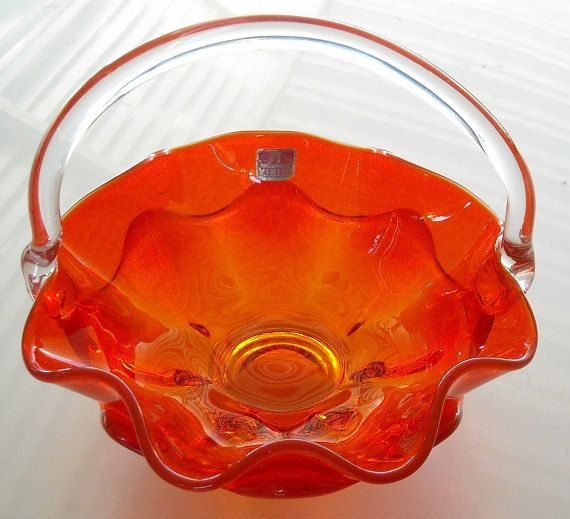 Mid Century Viking Glass Basket orange ruffled art by designfrills