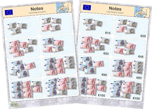 Learn to recognise and count EURO banknotes & coins - counting banknotes 1