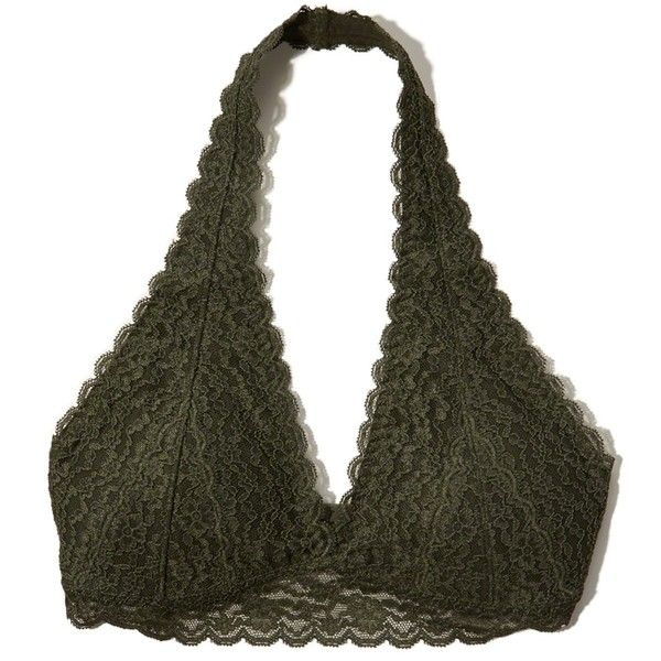 Hollister Gilly Hicks Removable-Pads Lace Halter Bralette ($17) ❤ liked on Polyvore featuring intimates, bras, olive lace, lace strappy bra, strappy halter top, strap bra, halter neck bra and halter top