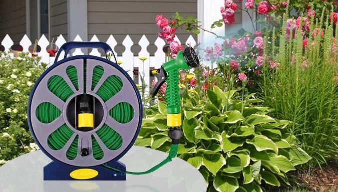 Buy 50ft Flat Hose and Spray Nozzle - 7 Functions! UK deal for just: £7.99 Watering plants just got easier with the 50ft Flat Hose and Spray Nozzle      7 functions: mist, spray, shower, cone, vertical, centre and full      50ft of tight weave hose so you can reach all corners of your garden.      Sturdy stand and built-in reel for easy storage after use      Integrated carry handle for easy...