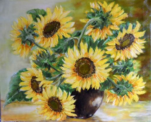 Słoneczniki w wazonie | Art.Malarstwo olejne. Kwiaty ...