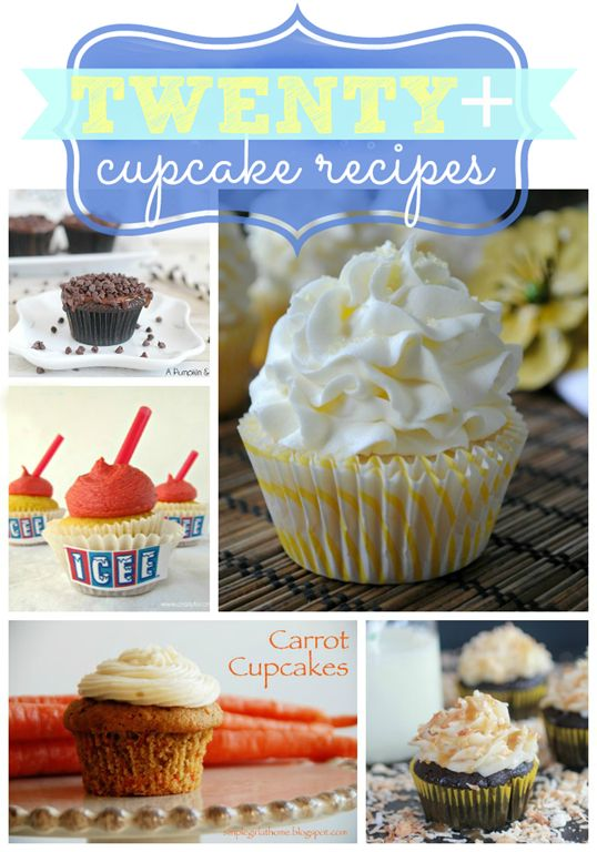 Twenty  Yummy Cupcake Recipes {round up at gingersnapcrafts.com} I love the Icee cupcake! @Lyndi Smith Smith McComb You've got me thinking about cupcakes, lady!! :)