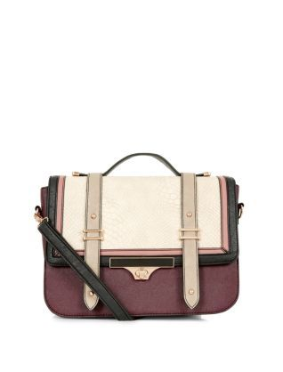 Red Pattern (Red) Burgundy Colour Block Twist Lock Satchel Bag  | 321753269 | New Look