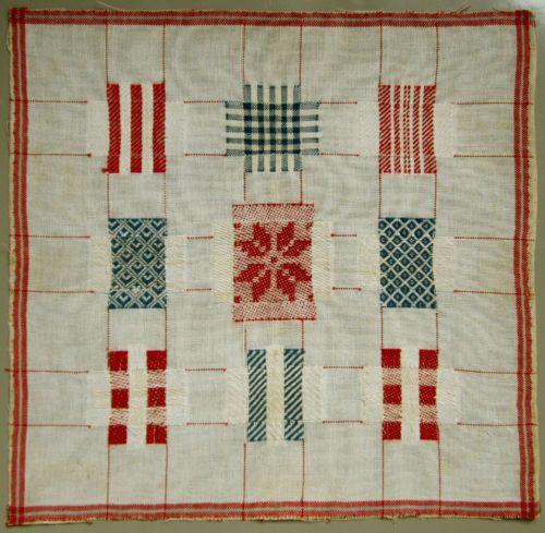 WONDERFUL-C-1900-RED-BLUE-DUTCH-DARNING-SAMPLER-MENDING-NEEDLEWORK-BRODERIE