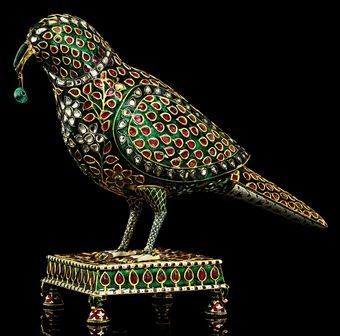 An exceptional emerald, ruby and diamond-inset enamelled gold parrot. Mughal India, late 18th century. Photo: Christie's Images Ltd