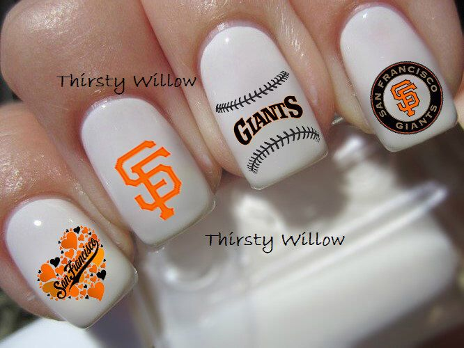 San Francisco Giants Nail Decals by ThirstyWillow on Etsy https://www.etsy.com/listing/221612351/san-francisco-giants-nail-decals