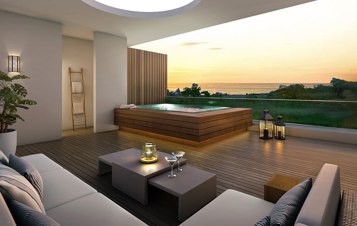 Jacuzzi, balcony, wooden deck , i 'd love to have a jacuzzi with this view and with this couch in my home - Mona