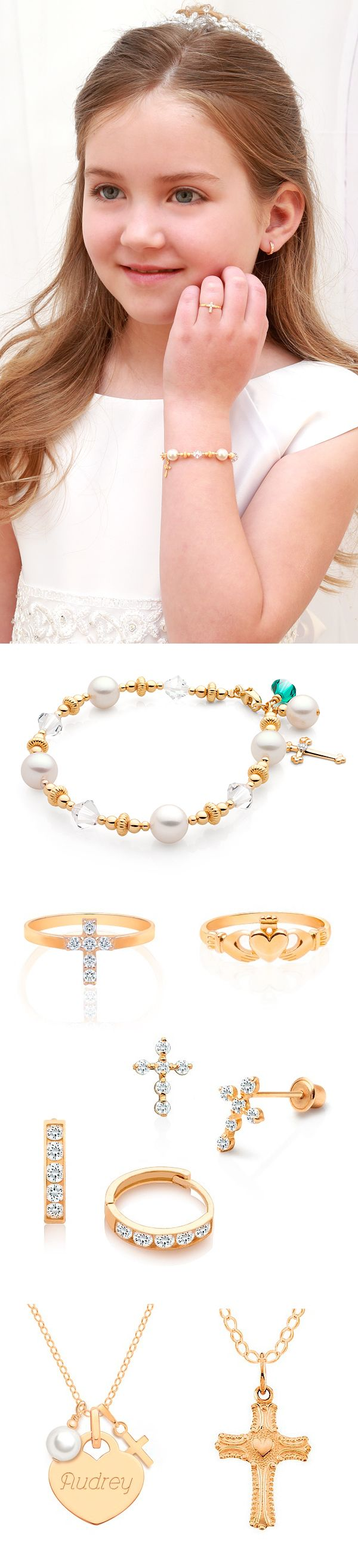 First Communion Jewelry Gifts in Solid 14K Gold. Simply Beautiful.