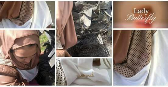A caramel suede and cream pin free hijab. Beautiful for the summer sun.