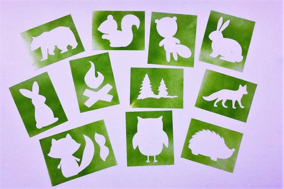 Woodland Animal Stencils for Painting Onesies by QueenCityCrafty Stencils for painting onesies, walls or any project you might have.  #BabyShower #OnesieDecorating