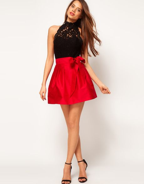 Skater Skirt with Bow - Lyst