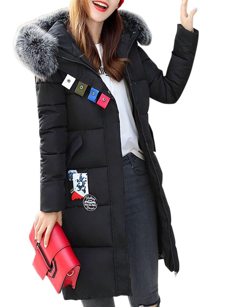 Casual Print Patchwork Faux Fur Hooded Women Puffer Coats