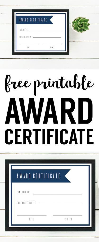 Free Printable Award Certificate Template. Editable, easy, basic, DIY award certificate for kids, teens, adults, work, sports, school. #papertraildesign #certificate #freeprintable #recognition