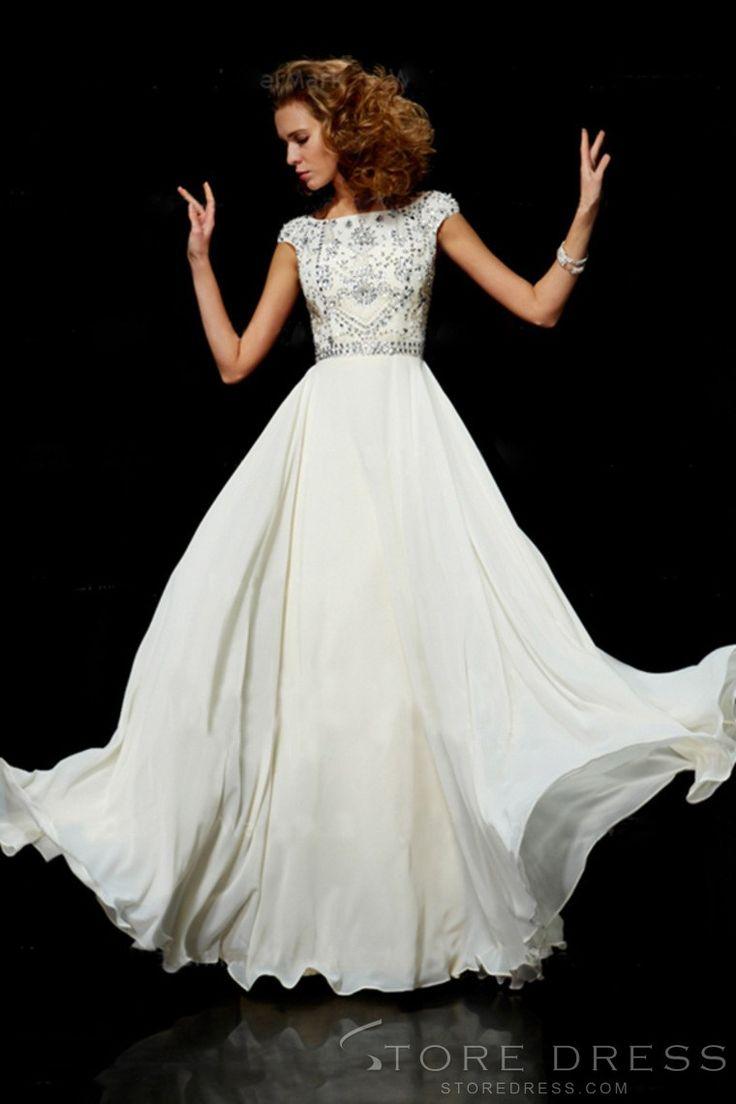 Flamboyant A Line High Scoop Neck Floor Length Ivory Chiffon Beading Prom Dress at Storedress.com