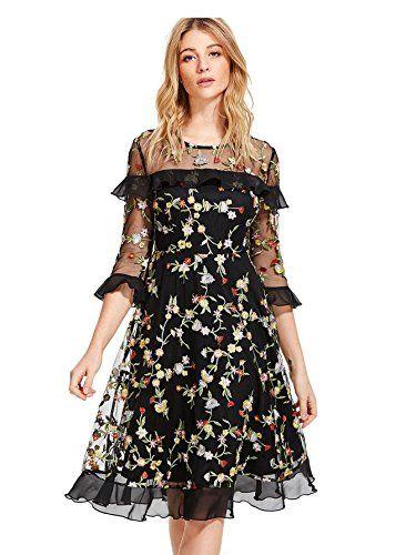 498e6304963 Verdusa Women s Floral Embroidered 3 4 Flounce Sleeve Dre... https