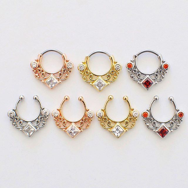 From my webshop by Silah - These stunning 'Kali' septum piercings are available both as septum clickers and clip-ons AND they are all on sale right now!!  Get them at www.shopsilah.com