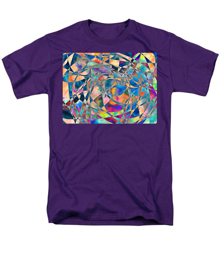 Original Art Whacked Out Psychedelic Checks Every Color And Blue Dominates Men's T-Shirt (Regular Fit) featuring the painting P.r.dm Harliquin by Expressionistart studio Priscilla Batzell