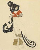 Л.С. БАКСТ. Женский туалет для костюмированного бала. Около 1914