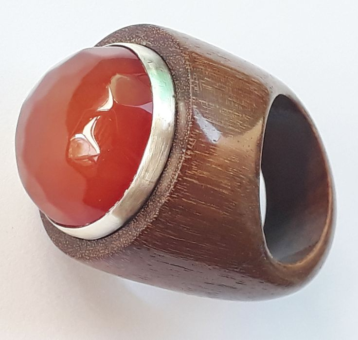 red agate ,silver and ipe wood ring by kingwoodbrazil
