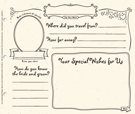wedding guest book pages template