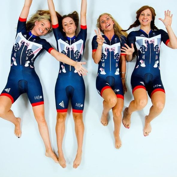 Team GB Team Pursuit. LauraTrott, Joanna Rowsell-Shand, Elinor Barker, Katie Archibald.