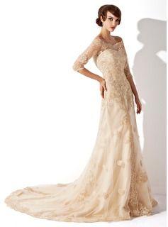 A-line Off-shoulder Kapel Train Satin Wedding dress. Champagne.