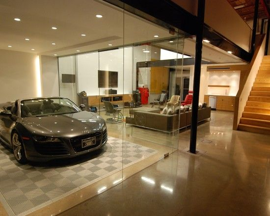 Amazing car showroom design with living room luxury for Living room garage
