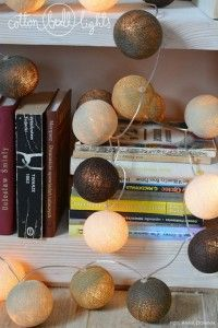Home decor. Taupe - zestaw Cotton Ball Lights