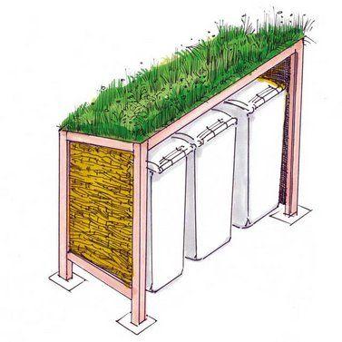 Mülltonnen-Verkleidung mit begrüntem Dach