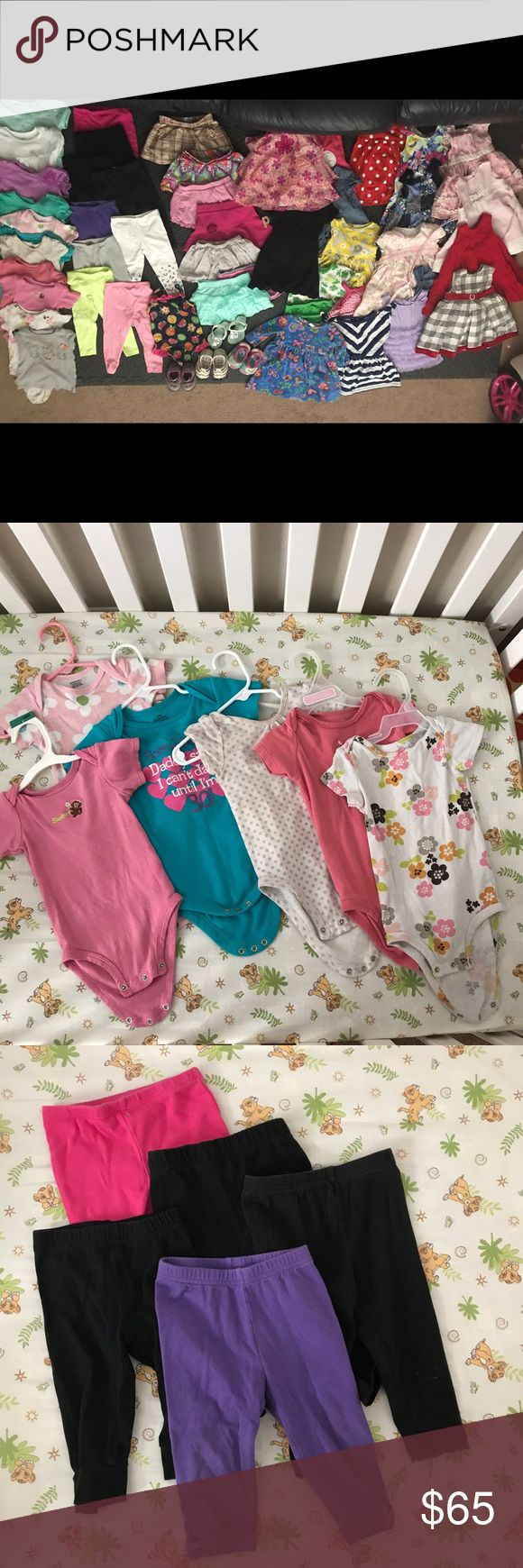 12-18 Month Girls Huge Bundle This is a great deal! Big bundle of Girls 12-18 Month clothes, some clothes may have very small imperfections and stains (few onesies and leggings) but for the most part are in good used condition. Note photos for condition on Sandals they have been well worn but would be great play Shoes. Lot Of name brand: Carter's, Gymboree, Nautica, and more. Smoke free house.  19 Dresses 7 Skirts 9 Pairs of Leggings 10 Onesies  1 Shirt 1 Swimsuit  3 Pairs of Size 4 Shoes 1…