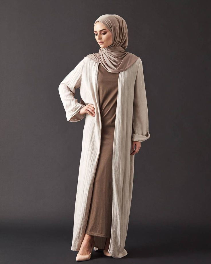 INAYAH | Perfect for these hot summer months, our perfect ensamble created from natural and breathable fabric    Vintage Khaki Slip Dress  Washed Sand Textured Kimono  Washed Mink Light Rayon Hijab    www.inayah.co