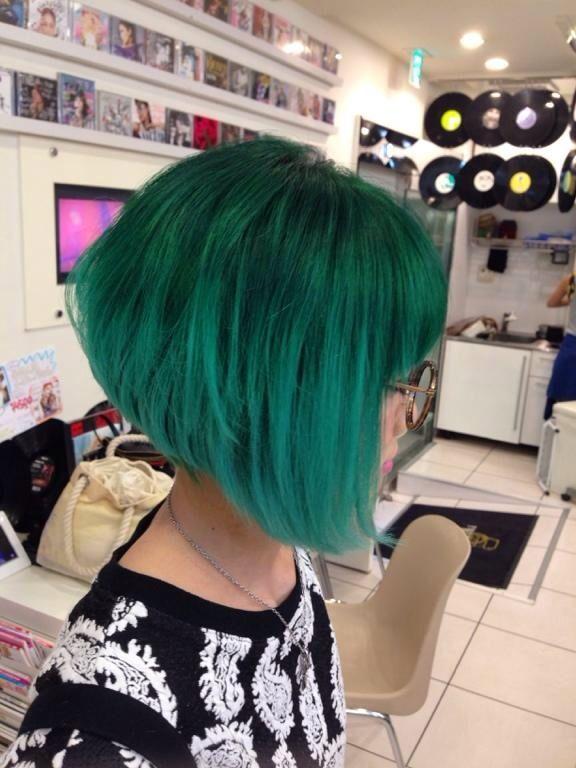 Green/teal  a-line bob