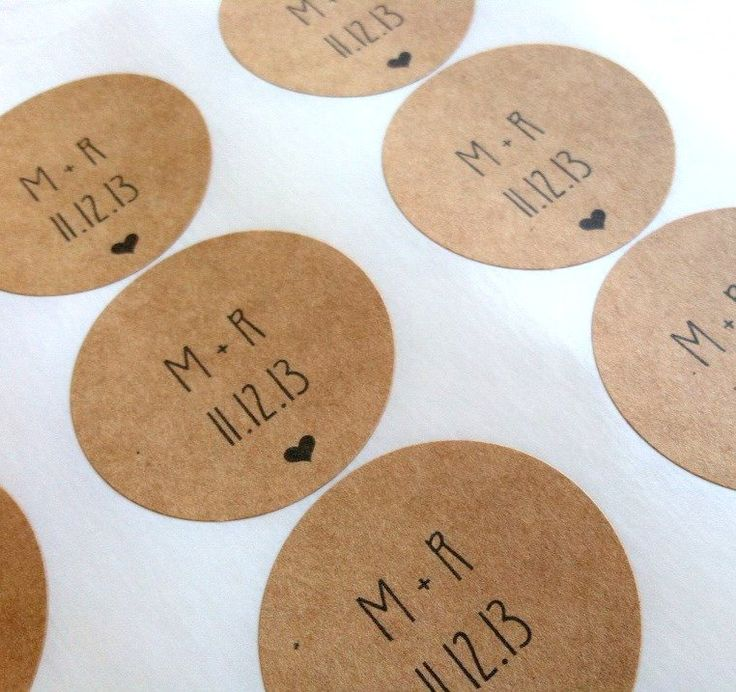 Save The Date Stickers Kraft Circle Stickers by prettypaperparlor, $5.00