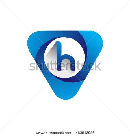 Logo letter H blue colored in the triangle shape, Vector design template…