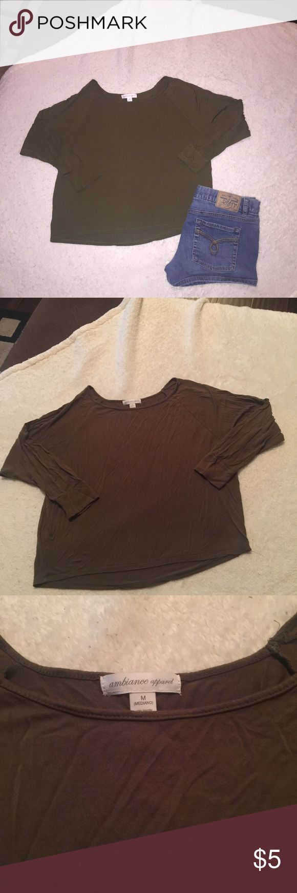 🔴4 FOR $10🔴BROWN CROP 3/4 SLEEVES TOP M VERY CUTE CROP TOP.  3/4 SLEEVES AND IN EXCELLENT CONDITION!  GREAT W/ LAYERING.  💖THANK YOU FOR THE LIKE.  IM HAVING A SALE!  EVERYTHING $10 AND UNDER IS 4 FOR $10.  EVERYTHING $20 AND UNDER IS 3 FOR $20.  PLEASE FEEL FREE TO ASK QUESTIONS!💖 Ambiance Apparel Tops Crop Tops