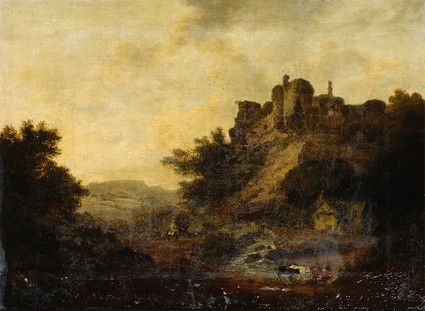"Oil painting from the Fine Art collection. ""Bramber Castle"" showing a ruined castle on a hill with a cottage and cows below. c.1800."