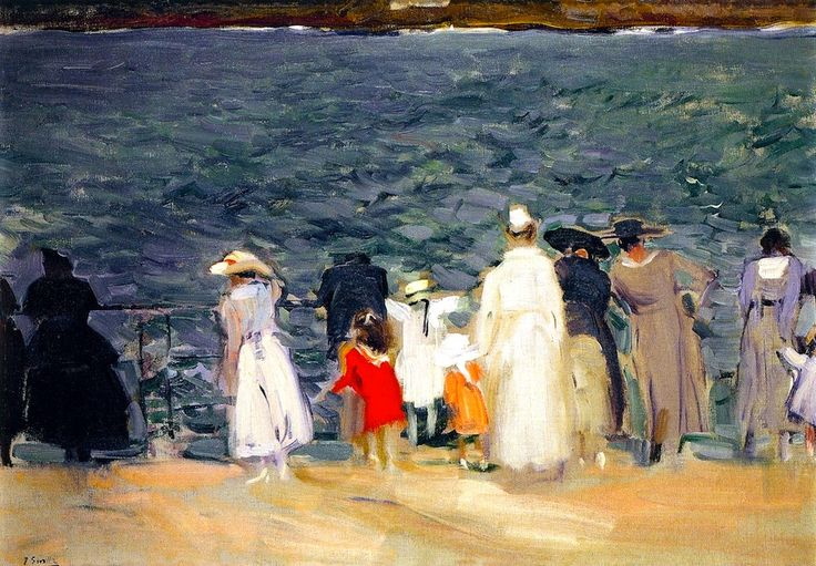 Figures on the Breakwater, San Sebastian Joaquin Sorolla y Bastida - 1918