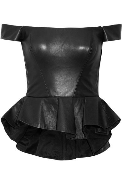 Reem Acra - Off-the-shoulder Leather Peplum Top - Black