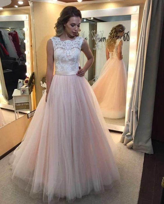Charming Long Prom Dresses,Tulle Prom Dress with Lace,Elegant Prom Dresses, Formal Evening Dresses,Women Dress by fancygirldress, $189.00 USD