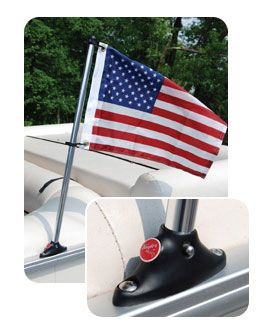 Pontoon Flag Pole Socket with Flag. | Get nautical with a new Bennington Pontoon Boat this year. Your family and friends will love your #BennyStyle. Find a local dealer at www.BenningtonMarine.com