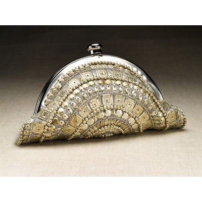 Silver Anna clutch, 8 inches long is our favorite exotic night-on-the-town accessory!