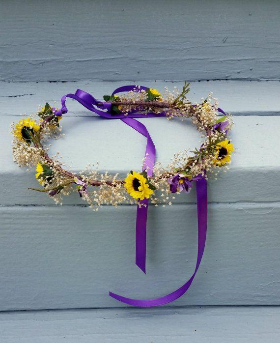 Sunflower Tuscan Vineyard Wedding Hair wreath accessories Flower Crown purple Bridal party dried silk floral garland  flower girl halo
