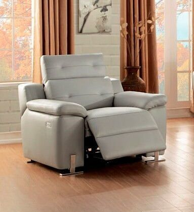 """Vortex Collection ultra modern style light grey top grain leather upholstered power motion recliner chair.  This item features power recliner with top grain upholstery and adjustable headrests. Recliner measures 41"""" x 41"""" x 30"""" - 37"""" H.  Some assembly required."""