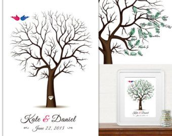 Items similar to Fingerprint Wedding Tree Guest Book Poster - Engagement Tree Guestbook Alternative Print - 13x19 inches - 70-100 Thumbprints on Etsy
